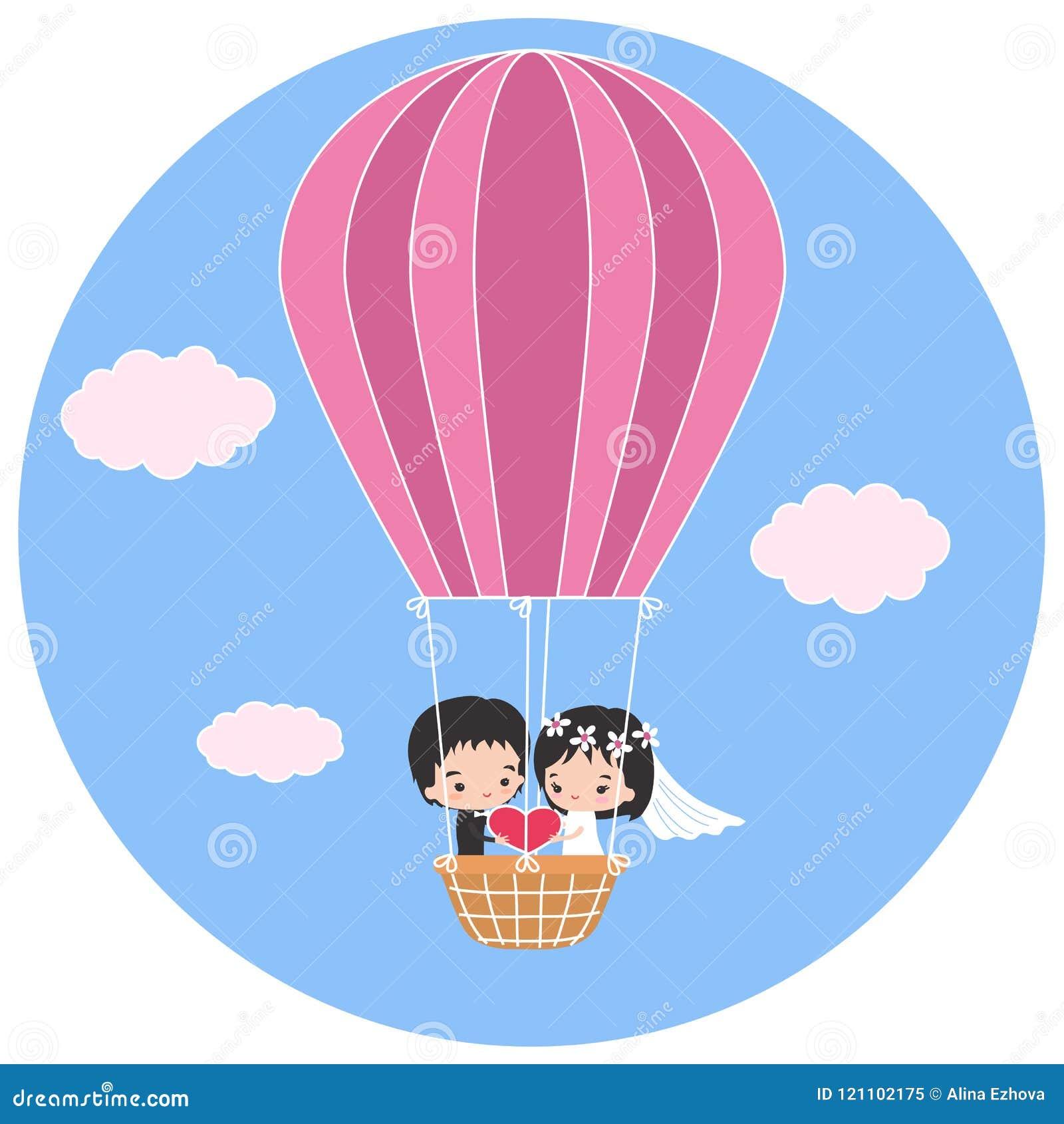 Flitterwochen in einem Heißluftballon