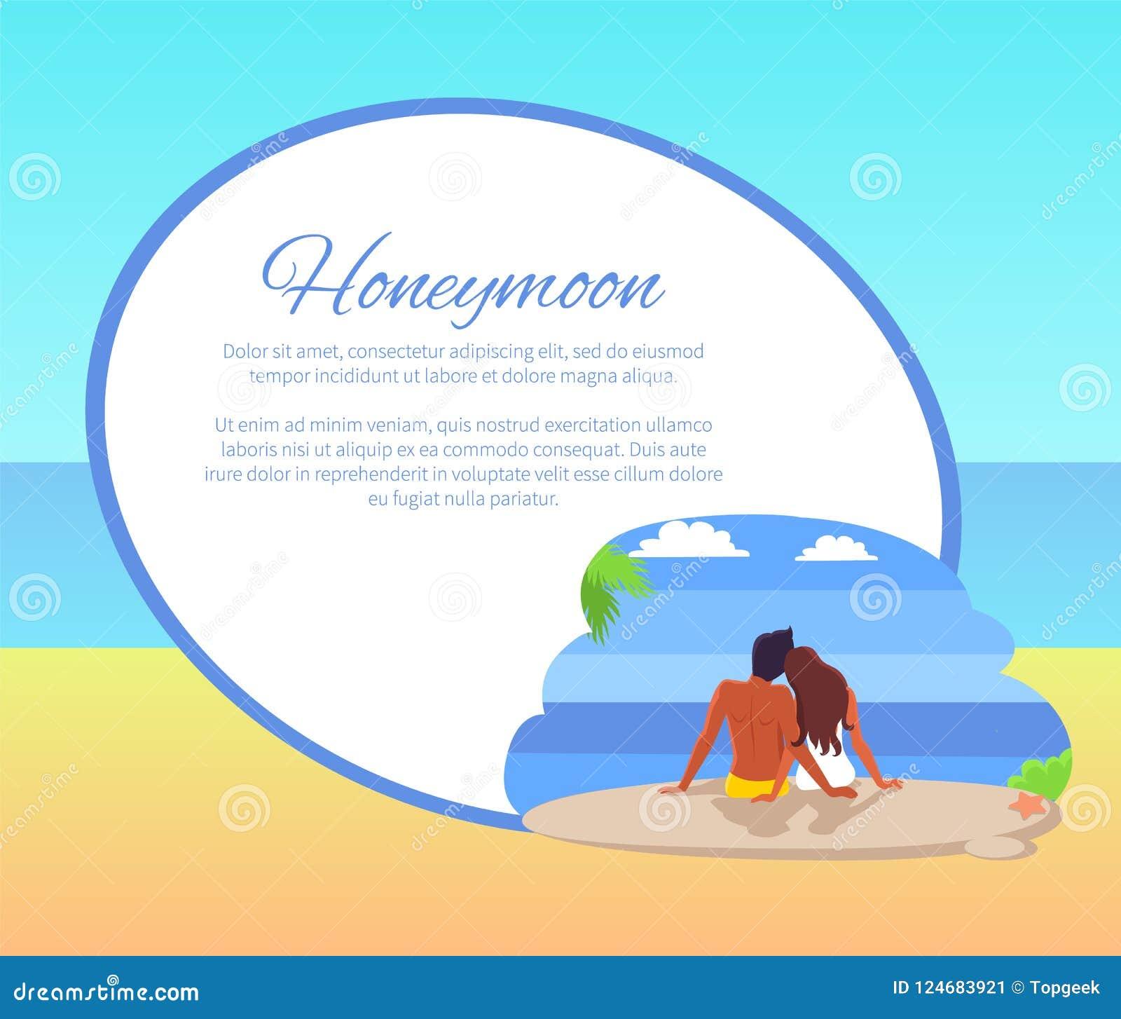 Flitterwochen-Netz-Plakat mit den Paaren, die Seaview schauen
