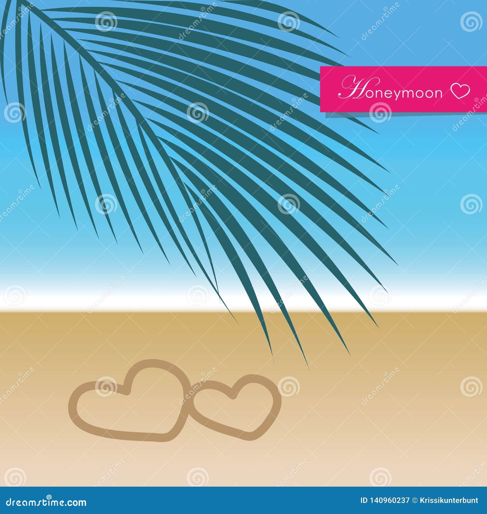 Flitterwochenreisekonzeptparadies-Palm- Beachfeiertag