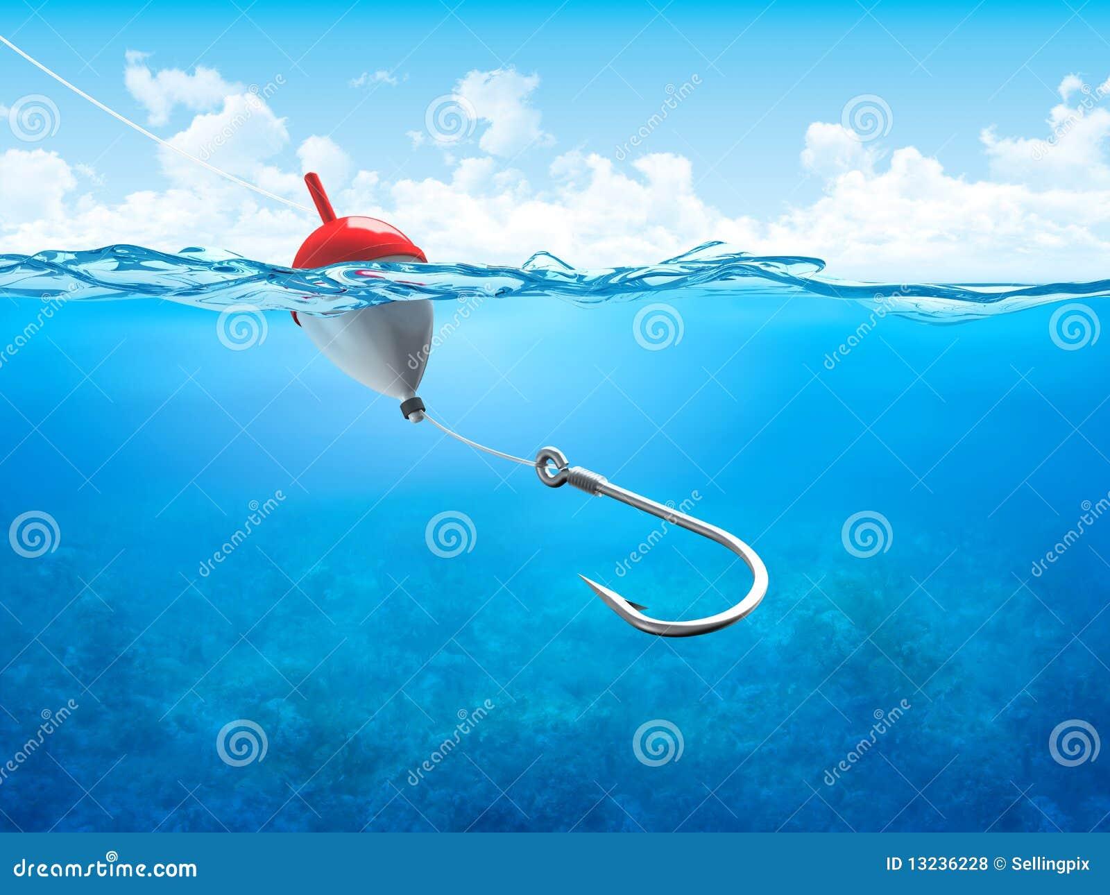 float, fishing line and hook underwater vertical royalty free, Reel Combo