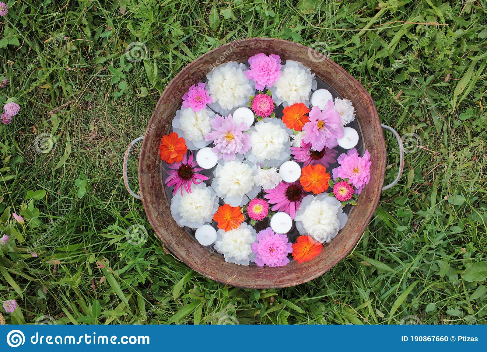 Floating Candles And Flowers In Old Zins Basin Summer Garden Party Outdoor Decor Ideas Stock Photo Image Of Grass Color 190867660