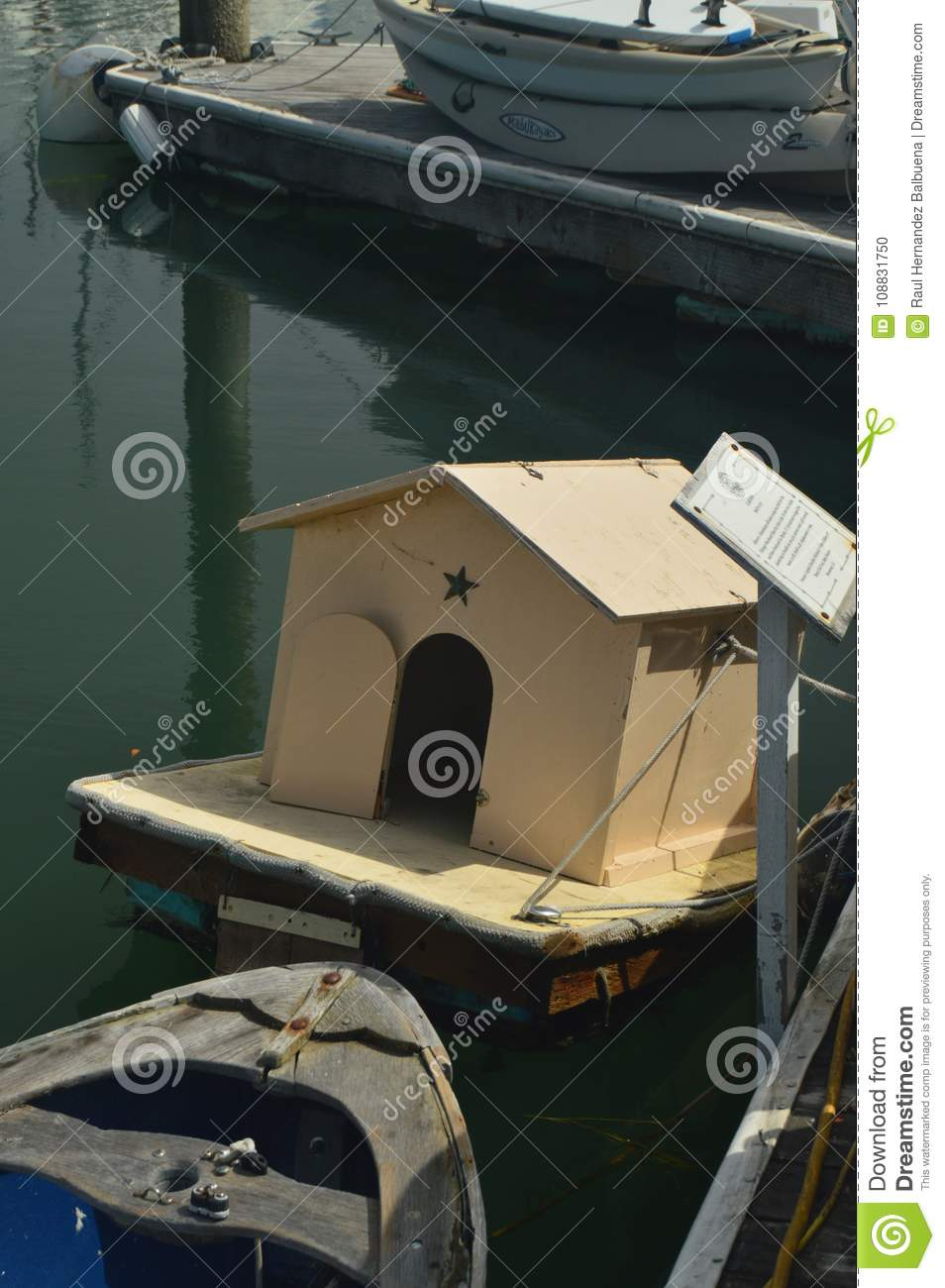 Floating Doghouse In Sausalito Near San Francisco.
