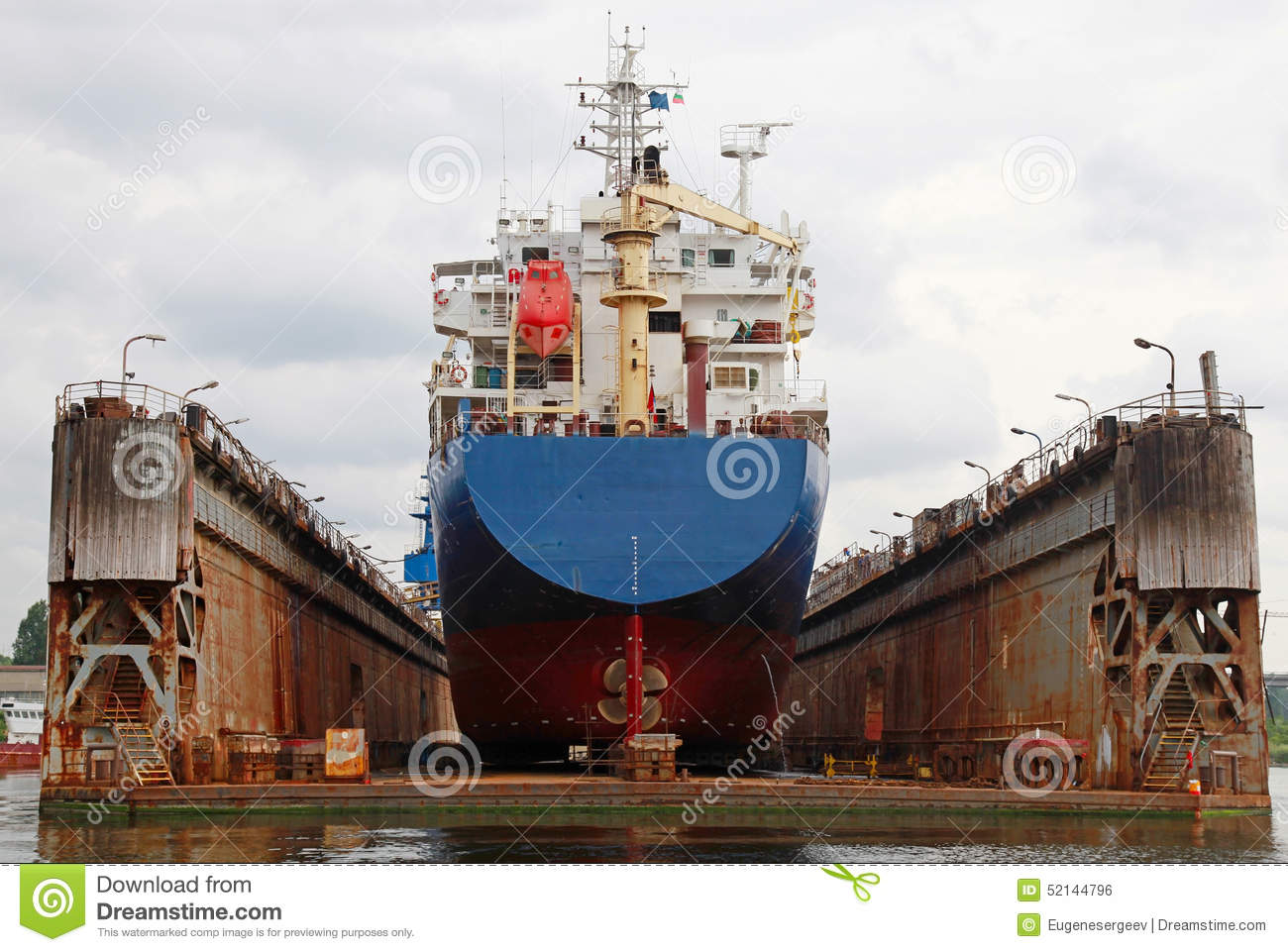 Floating Dry Dock With Blue Industrial Tanker Ship Stock