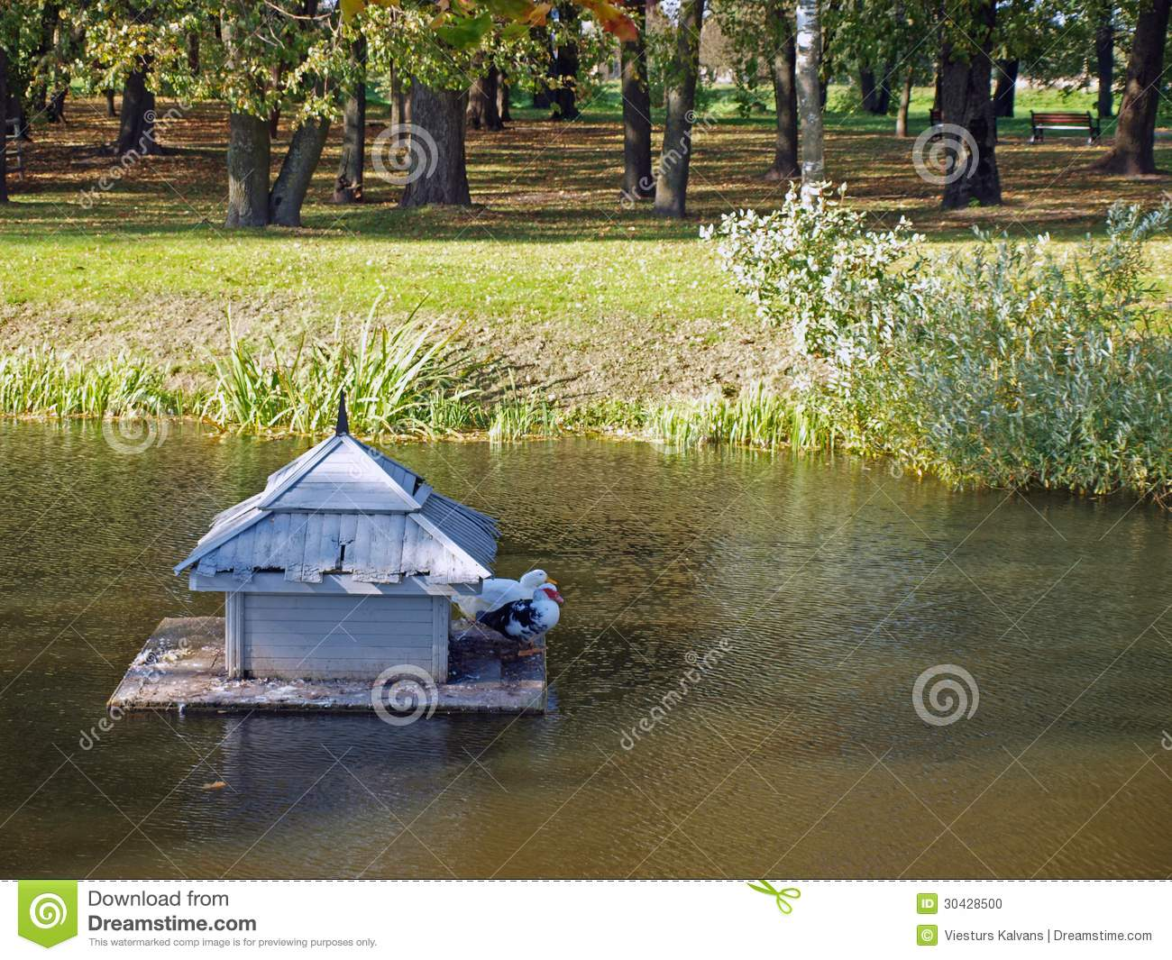 Floating Duck House Wooden Park Pond