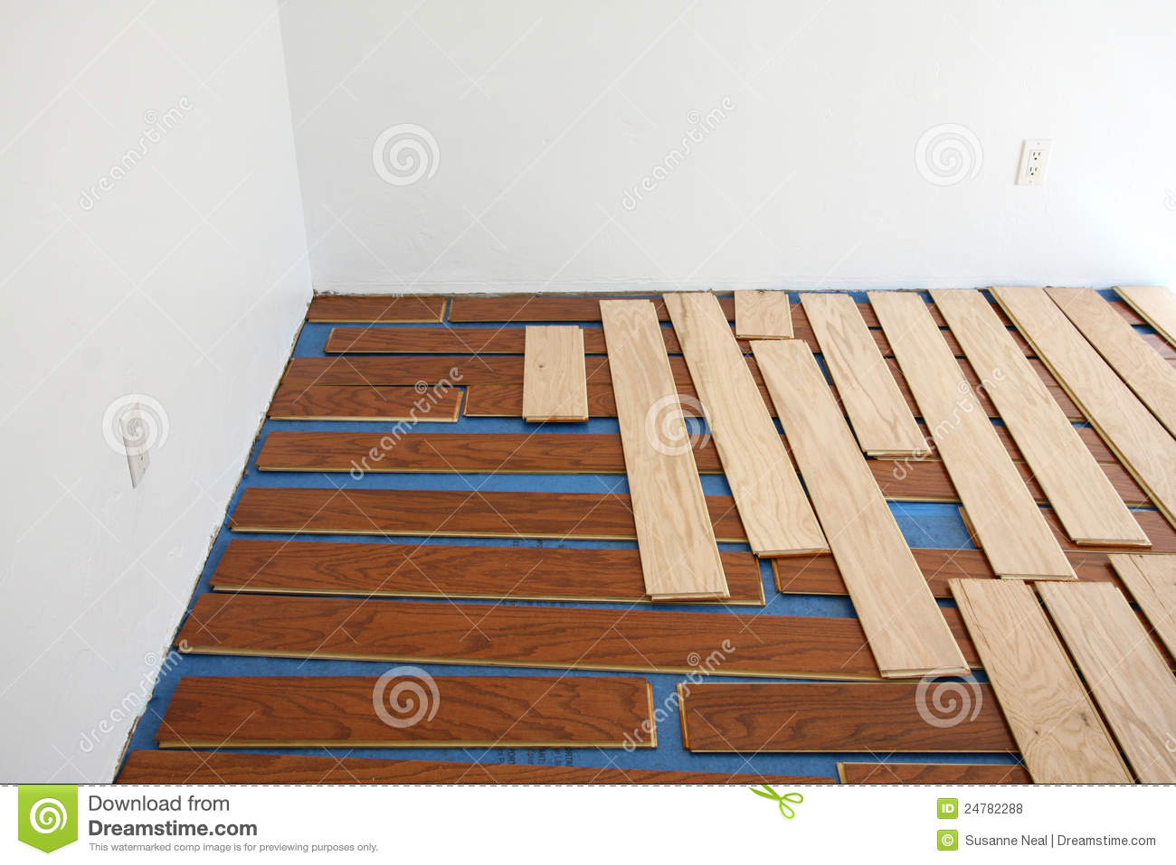 Floating hardwood floor installation stock photo image for Wood floor installation near me