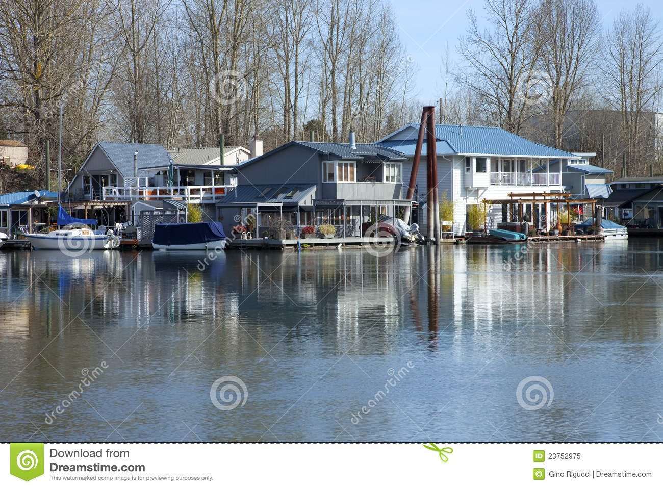 Floating houses and boats portland or royalty free stock Floating homes portland