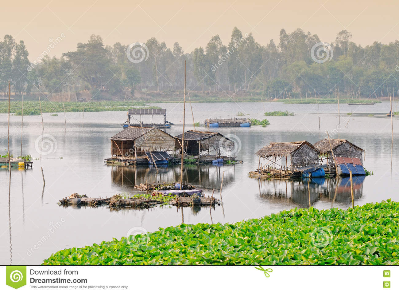 Floating Houses At Mekong Delta In Angiang Vietnam Stock Image Image 74554789