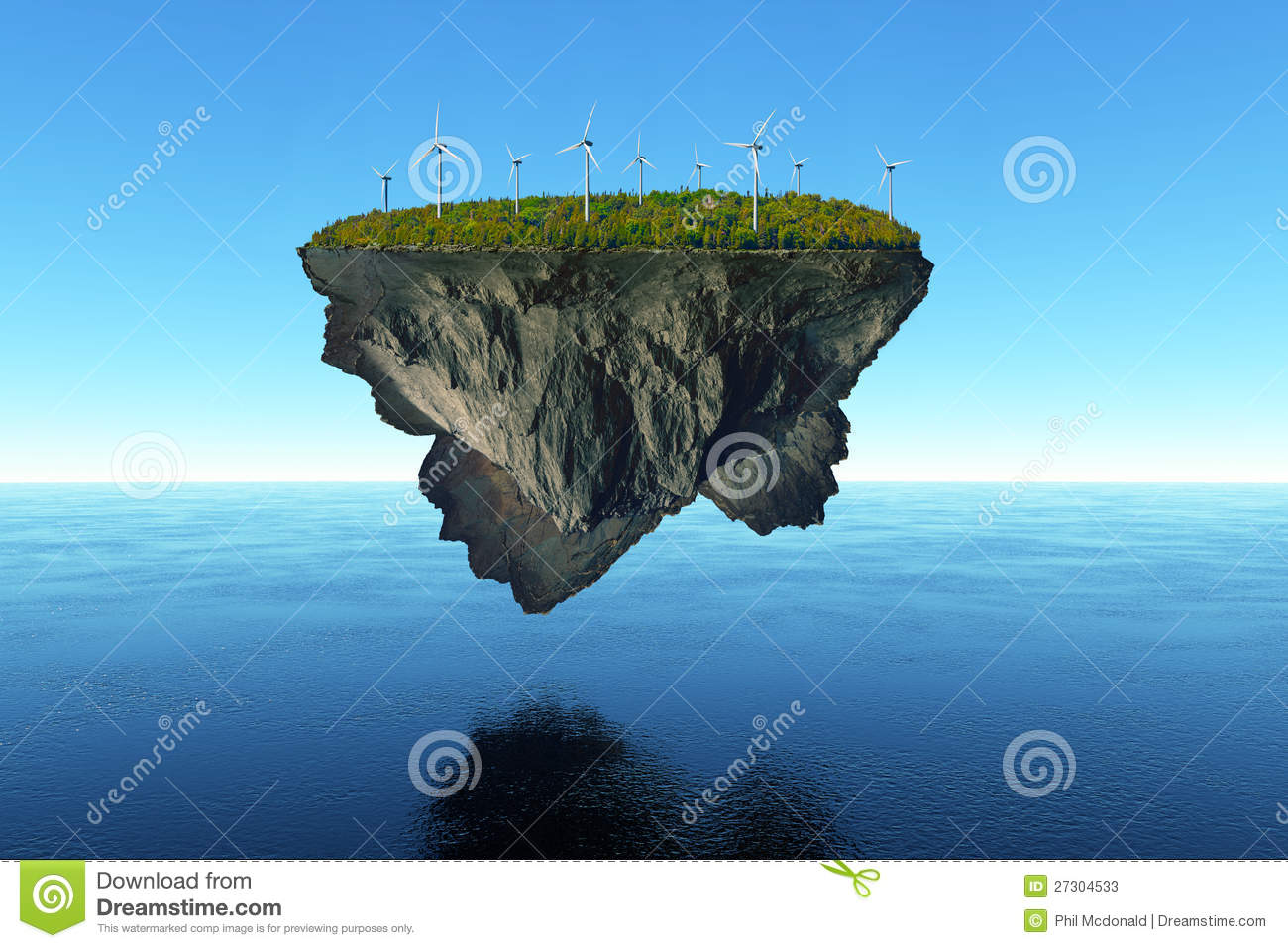 massive island covered in trees floats over the calm water, powered ...