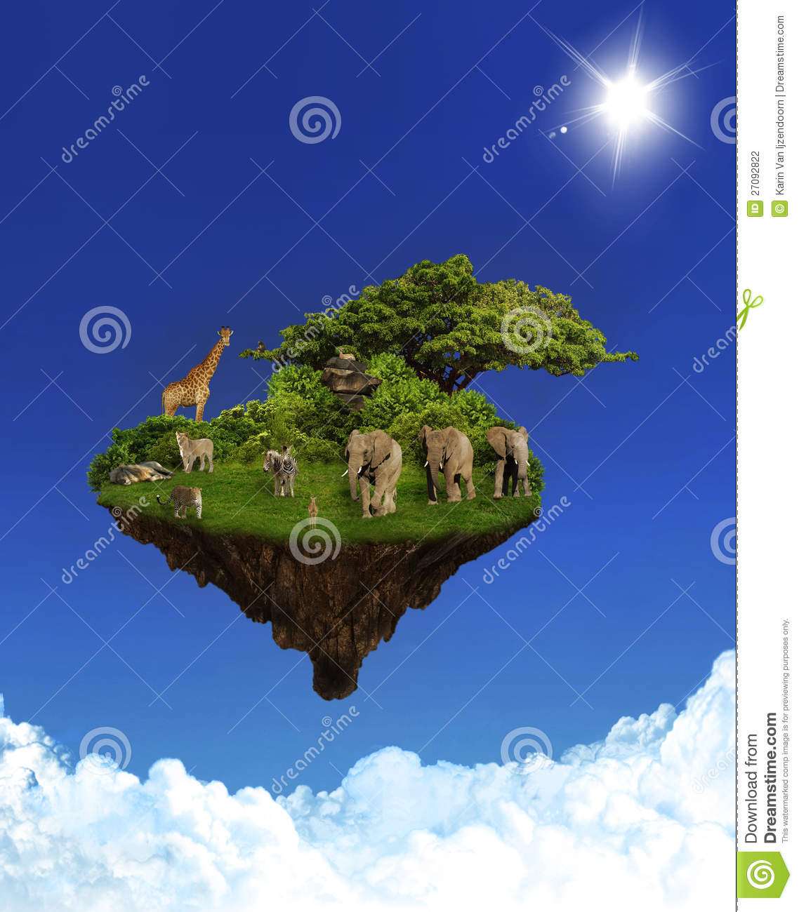 Floating Island With Animals Stock Photo Image 27092822