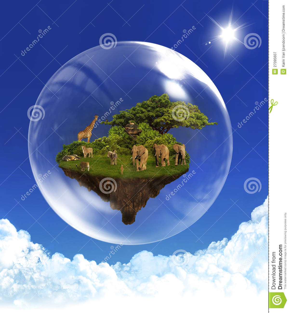 Floating Island With Animals In Bubble Stock Image Image