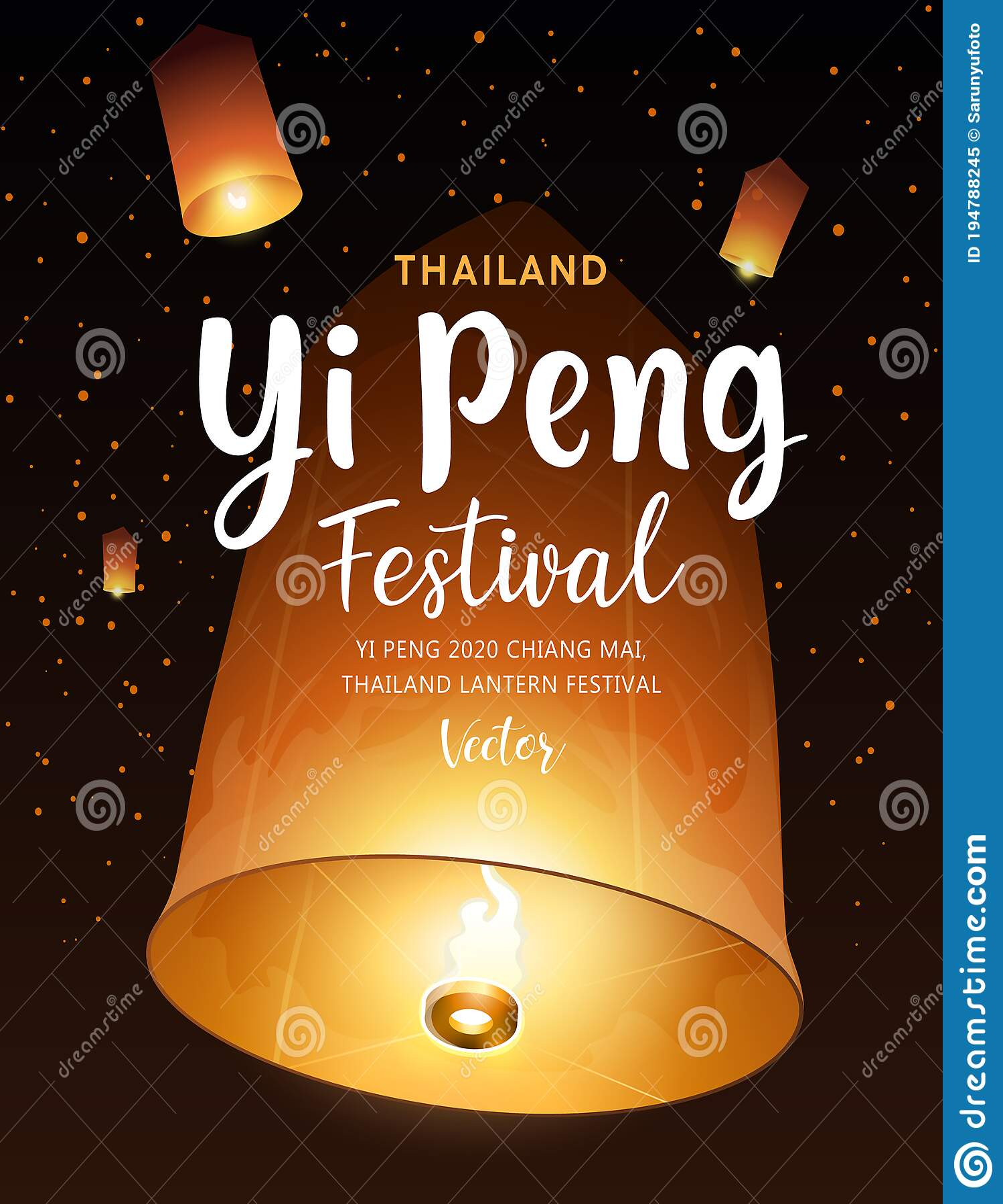 Floating Lantern Vector Yi Peng Festival Chiang Mai Thailand Lantern Festival Before Loy Krathong Poster Stock Vector Illustration Of Black Holiday 194788245