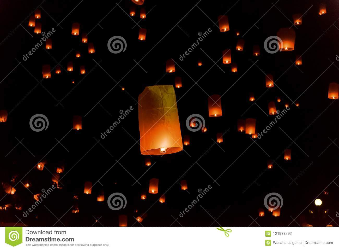 Floating lanterns or Balloon on the sky background.