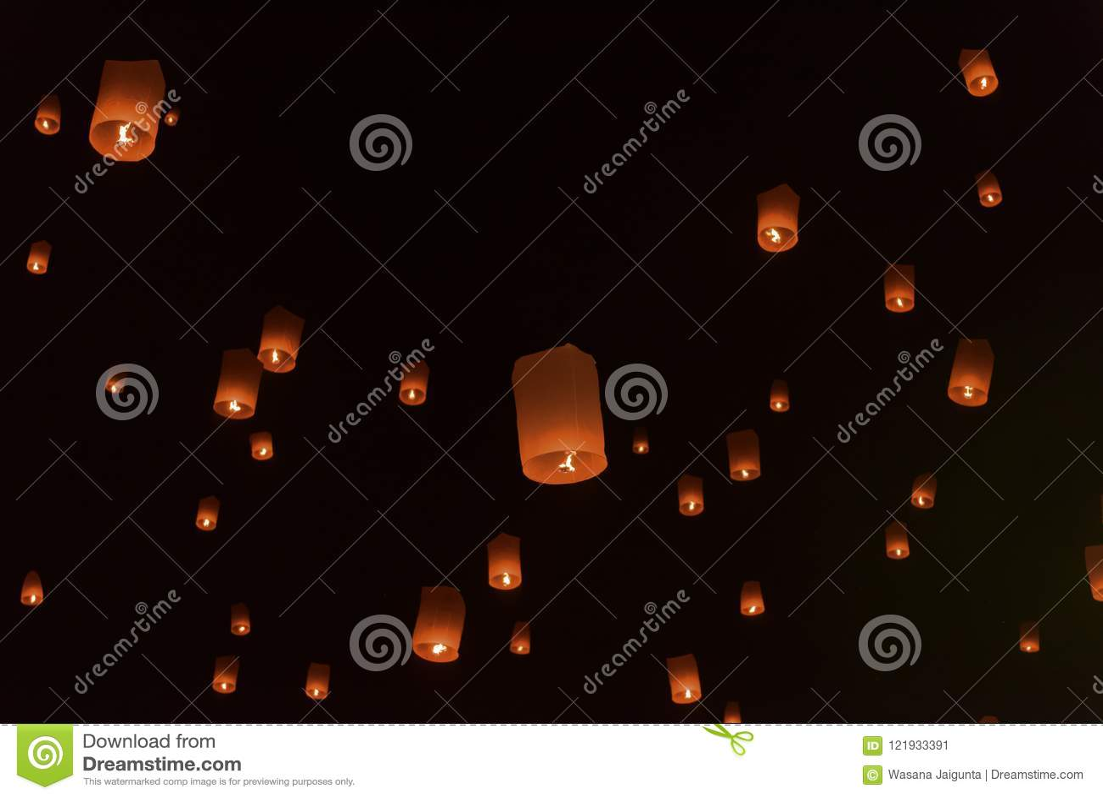 Floating Lanterns Or Balloon On The Sky Background Stock Image Image Of Light Arts 121933391