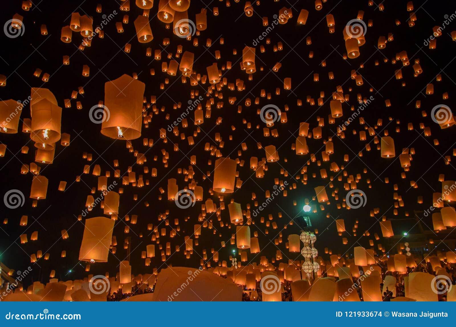 Floating Lanterns Or Balloon On The Sky Background Stock Photo Image Of Background Native 121933674