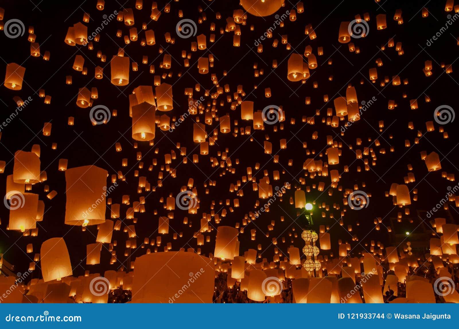 Floating Lanterns Or Balloon On The Sky Background Stock Photo Image Of Like Landmark 121933744