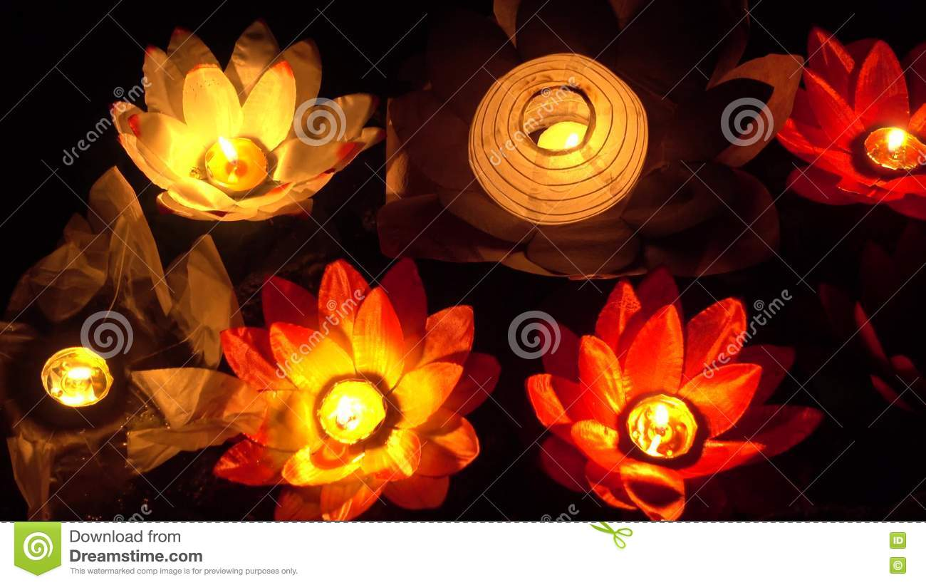 Floating Lotus Flower Paper Lanterns On Water Stock Footage Video