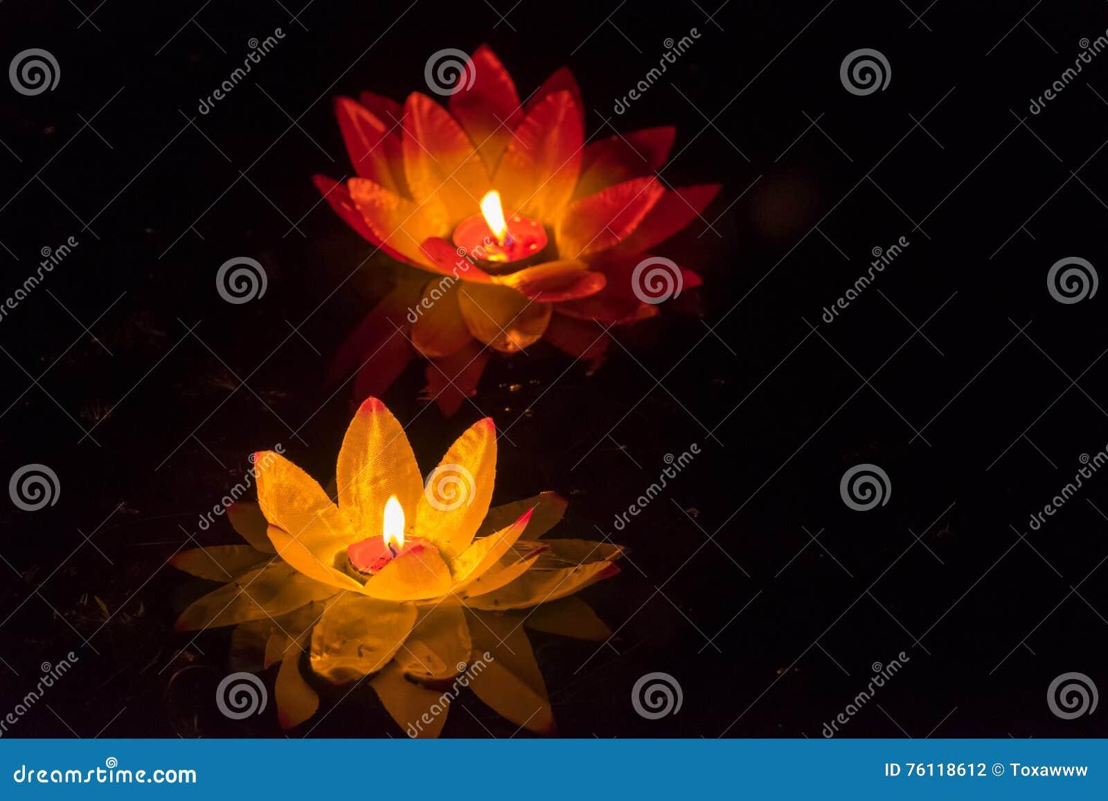 Floating Lotus Flower Paper Lanterns On Water Stock Photo Image Of