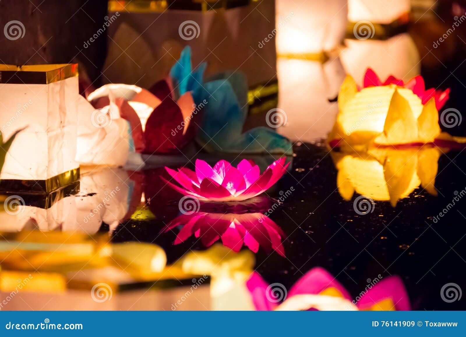 Floating Lotus Flower Paper Lanterns On Water Stock Image Image Of