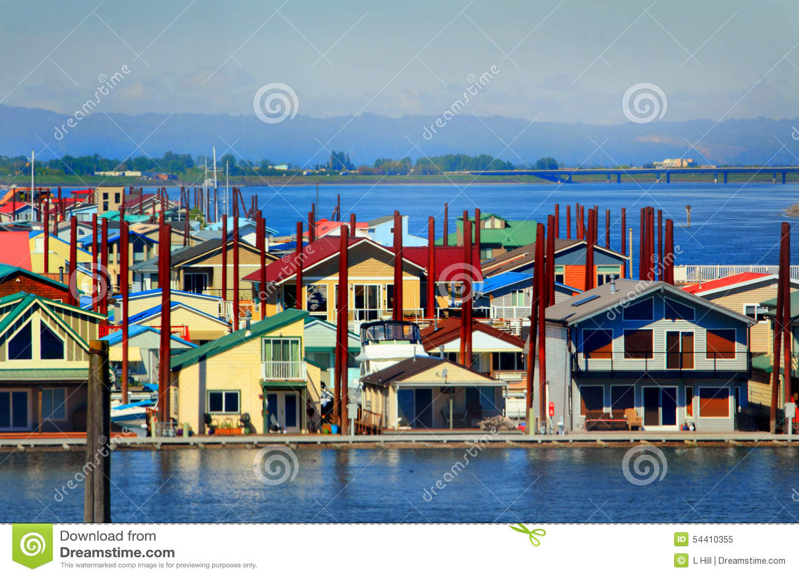 Floating neighborhood closeup stock photo image 54410355 for Portland floating homes