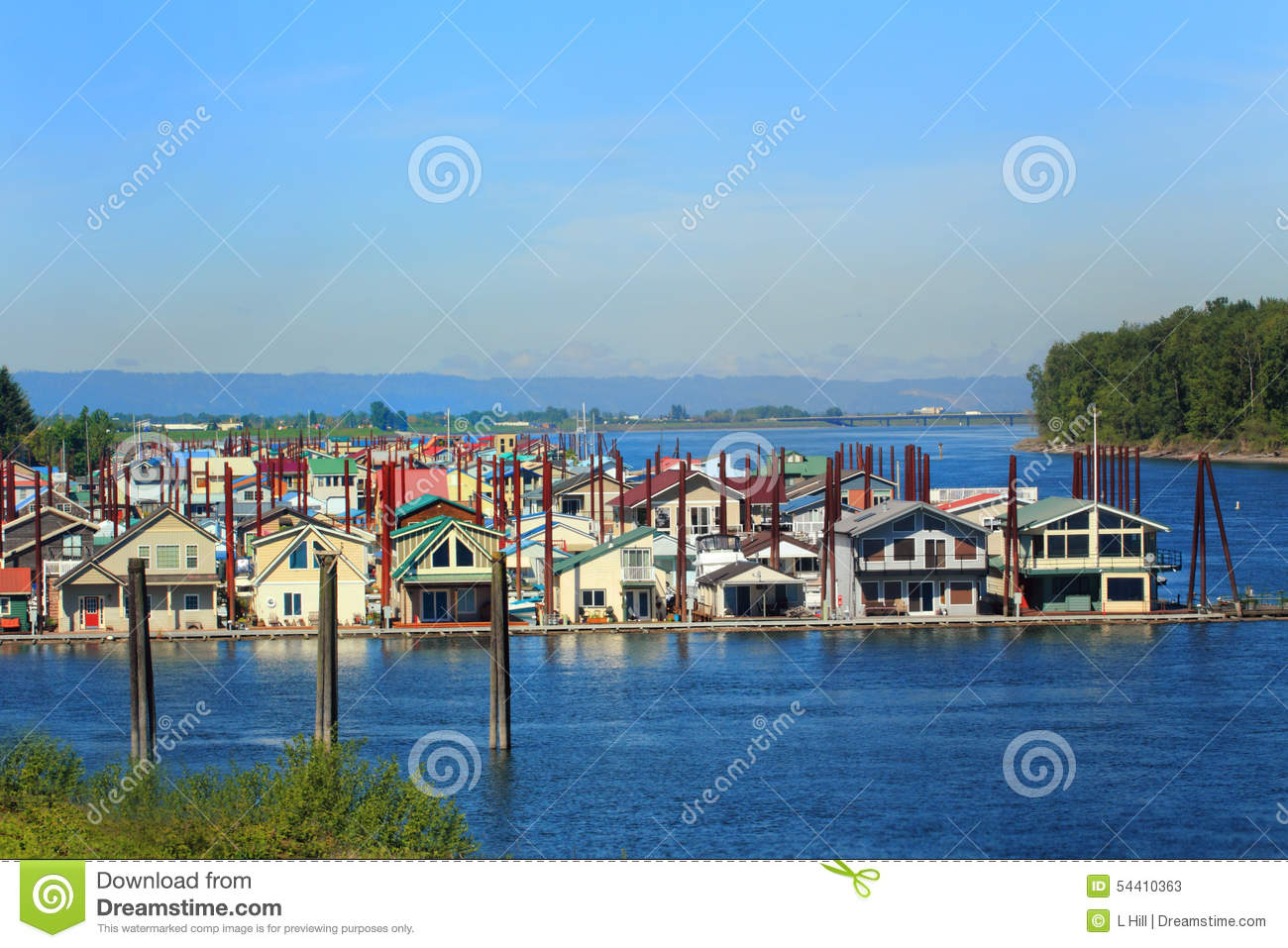 Floating neighborhood stock image image of calm for Floating homes portland