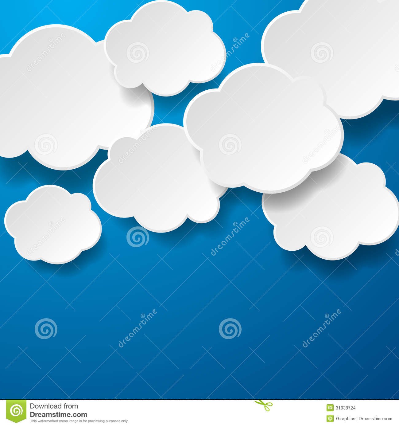 Floating paper clouds background stock vector for How to make a paper cloud