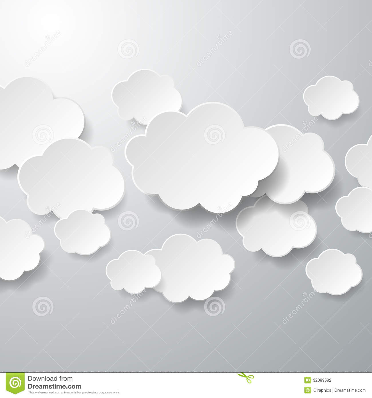 Floating paper clouds background stock vector image for How to make a paper cloud