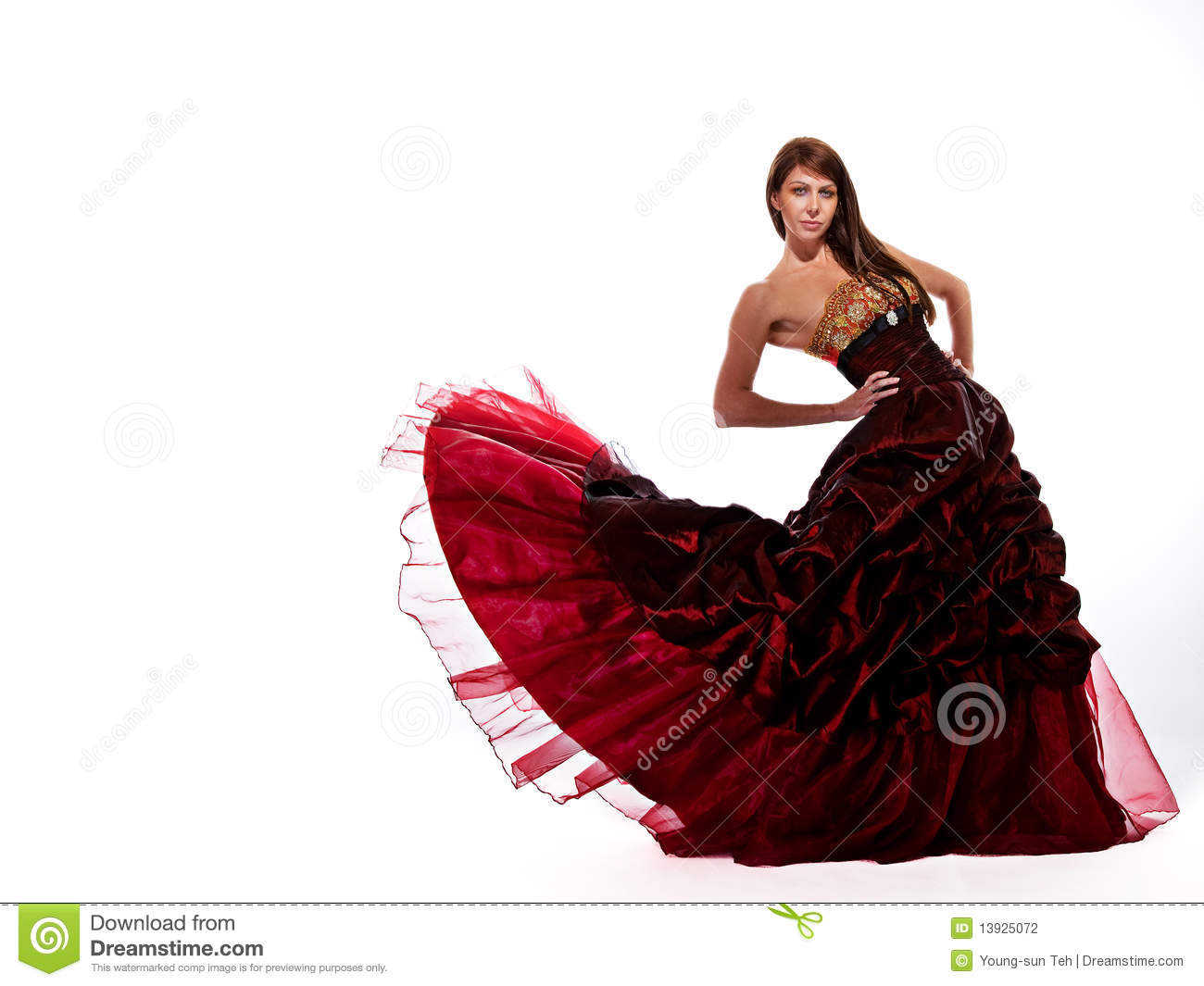 Floating red dress