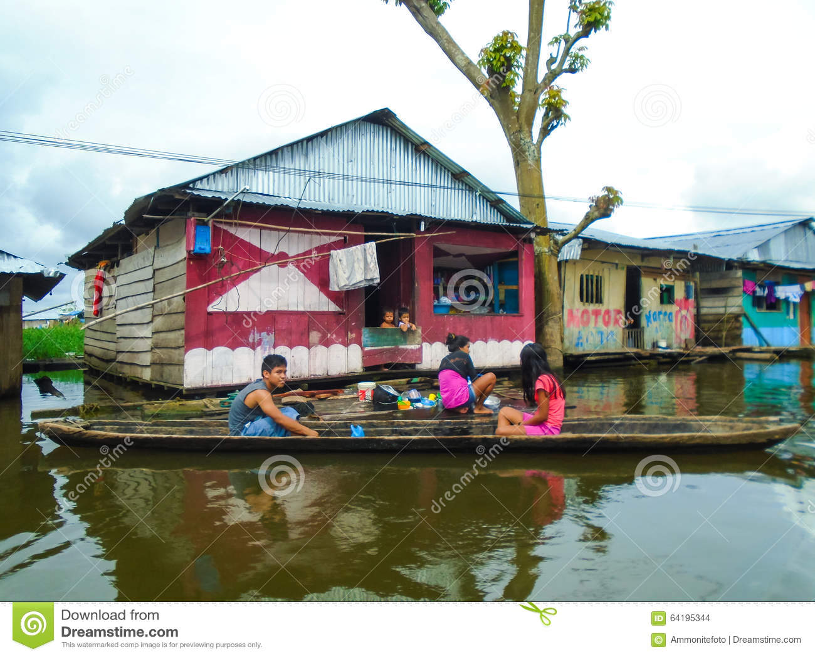 Floating village of Belen in Peru