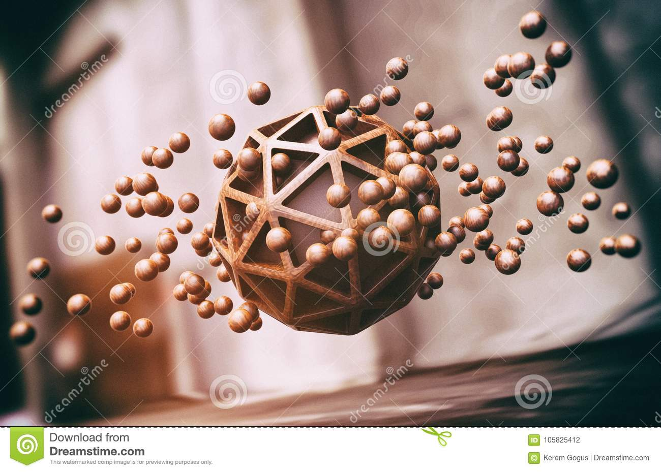 Floating Wooden Spheres Abstract Background
