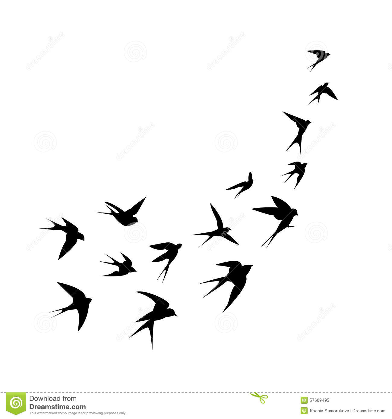 A Flock Of Birds Swallows Go Up Black Silhouette On A