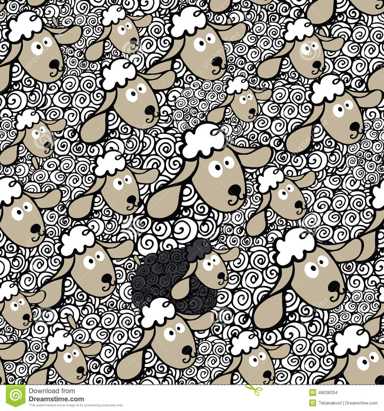 Flock Of Sheepone Black Sheepseamless Pattern Stock Vector