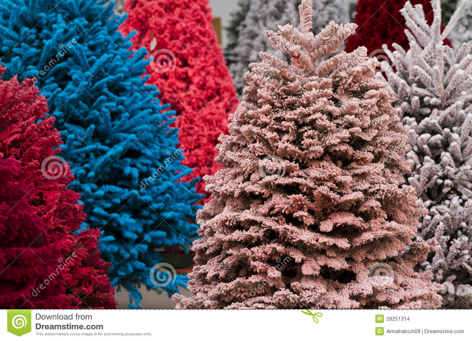 Flocked Christmas Tree Stock Images Image 28251314