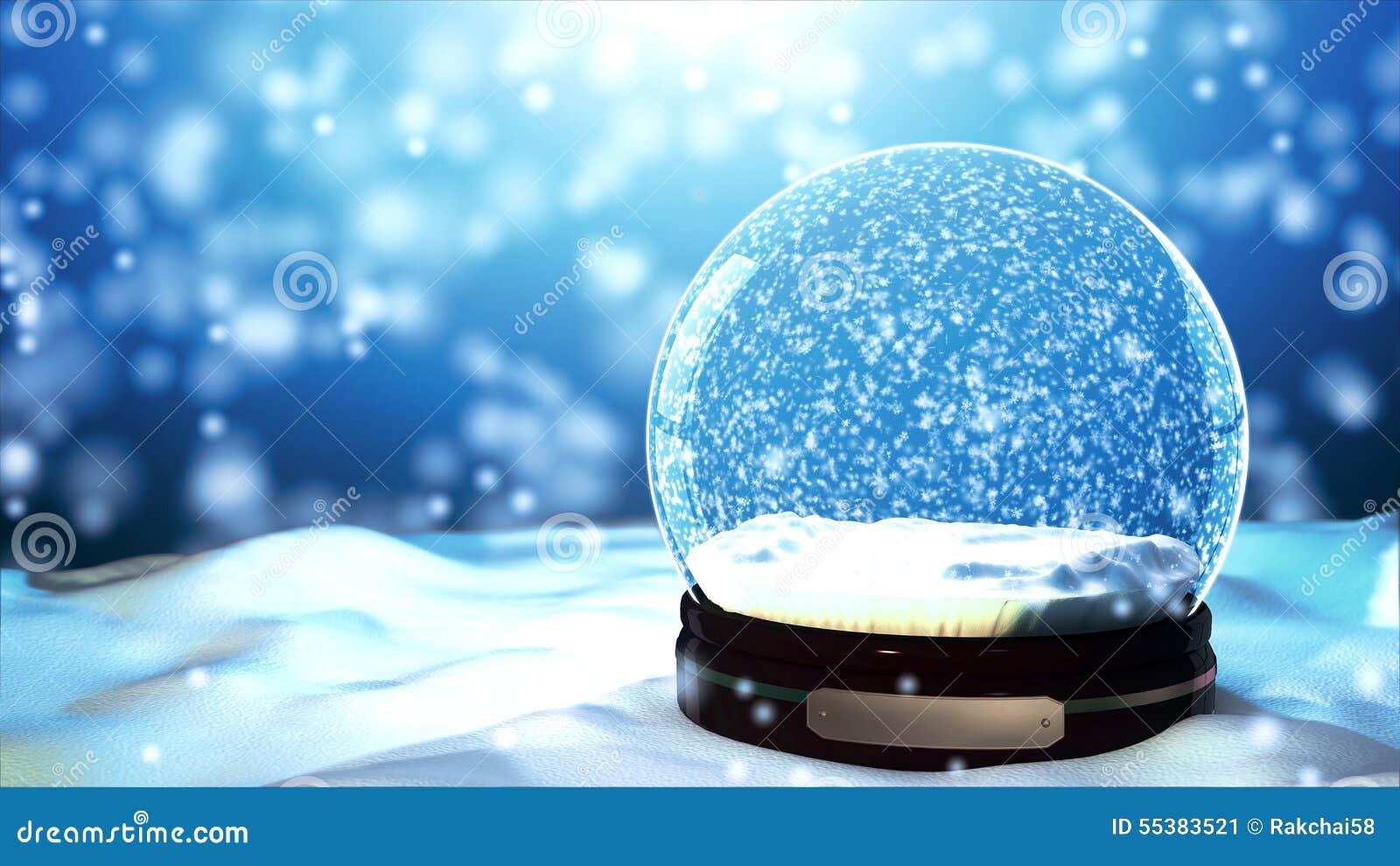 Floco de neve do globo da neve do Natal com queda de neve no fundo azul