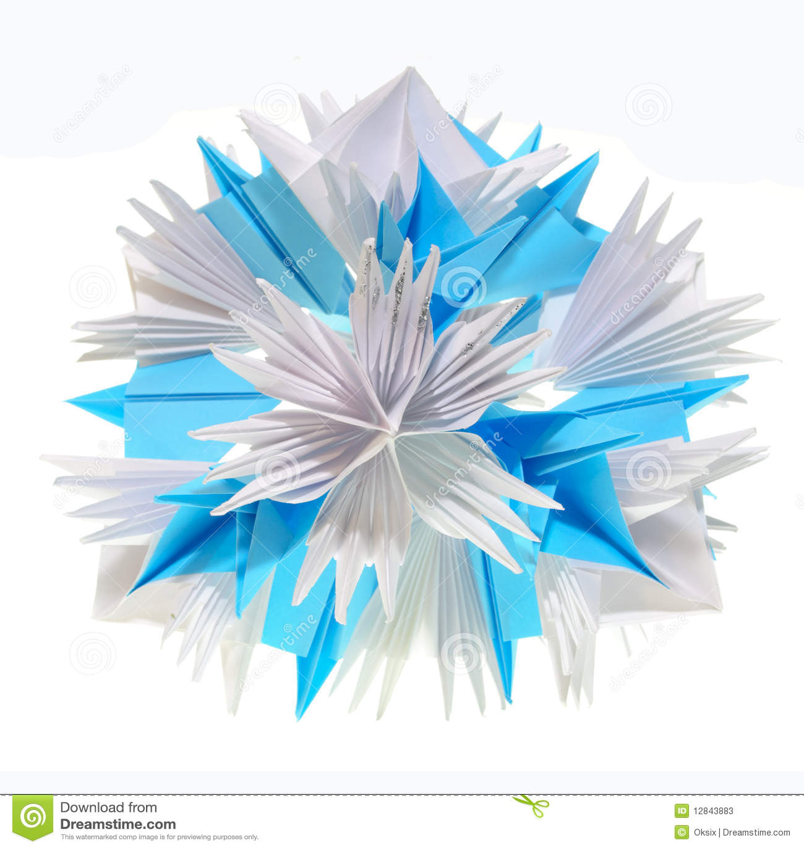 Flocon de neige de kusudama d 39 origami photos stock image 12843883 - Gabarit flocon de neige a decouper ...