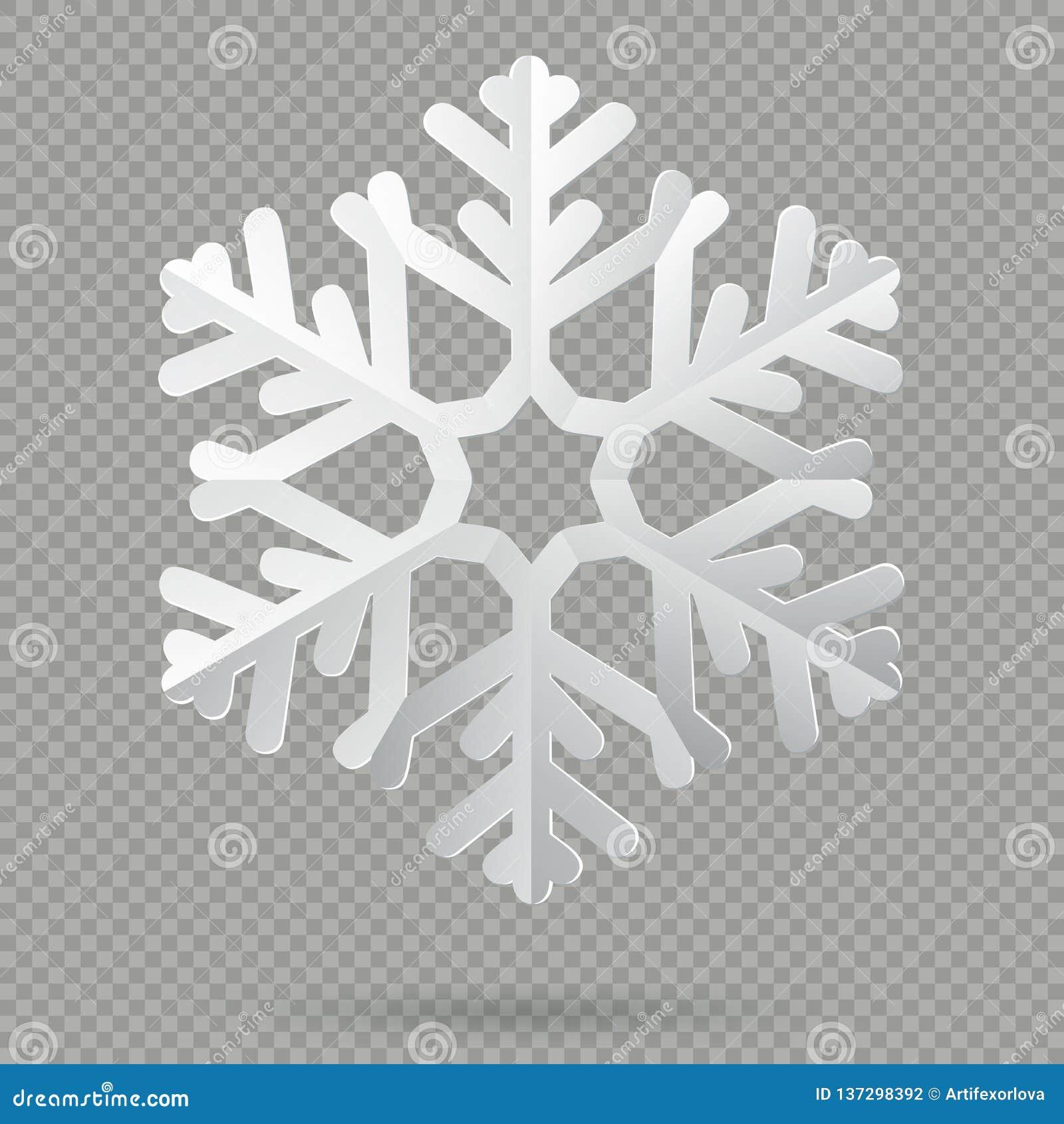 Flocon de neige de papier plié réaliste blanc de Noël avec l ombre d isolement sur le fond transparent ENV 10
