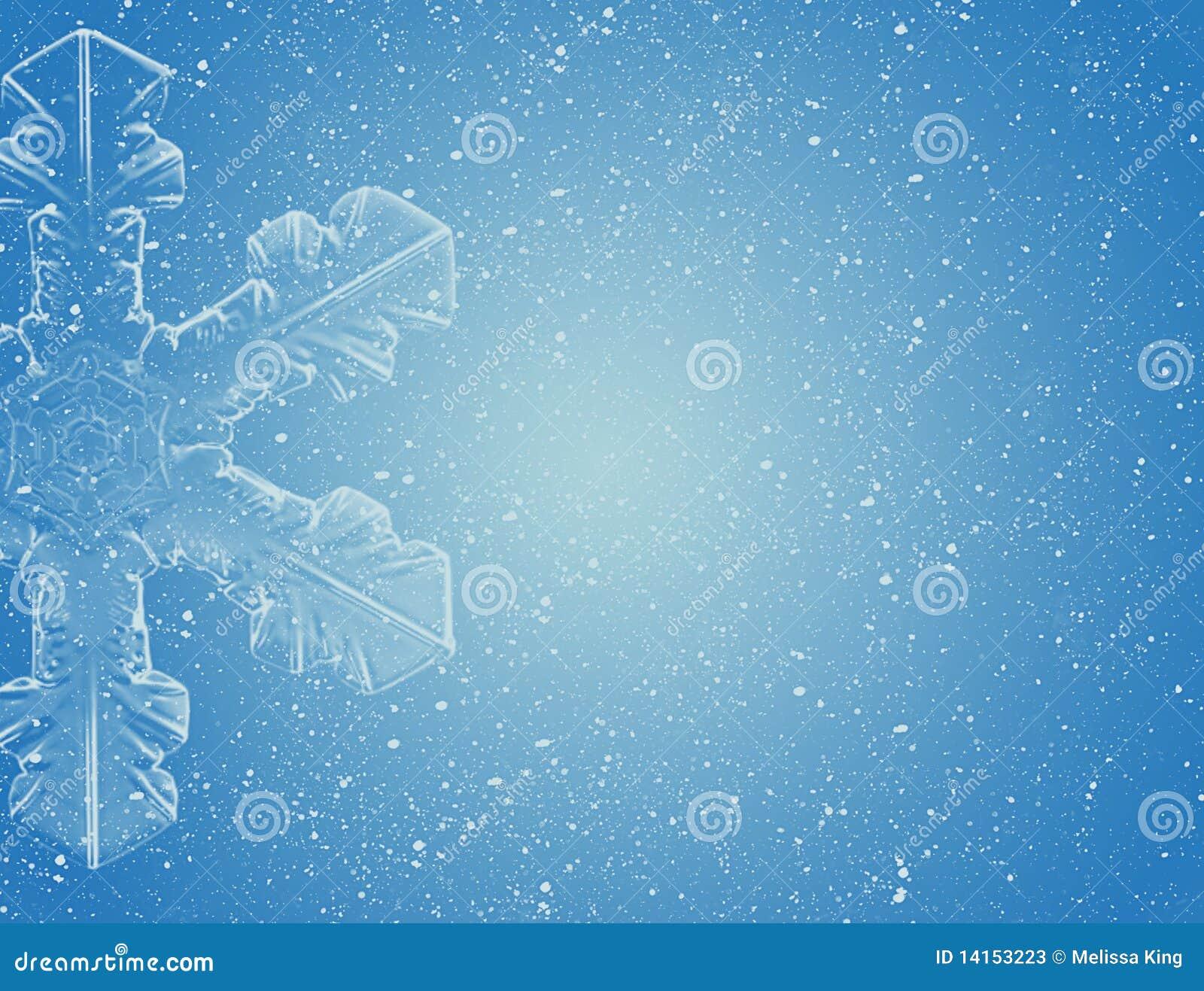 Flocon de neige sur le ciel bleu