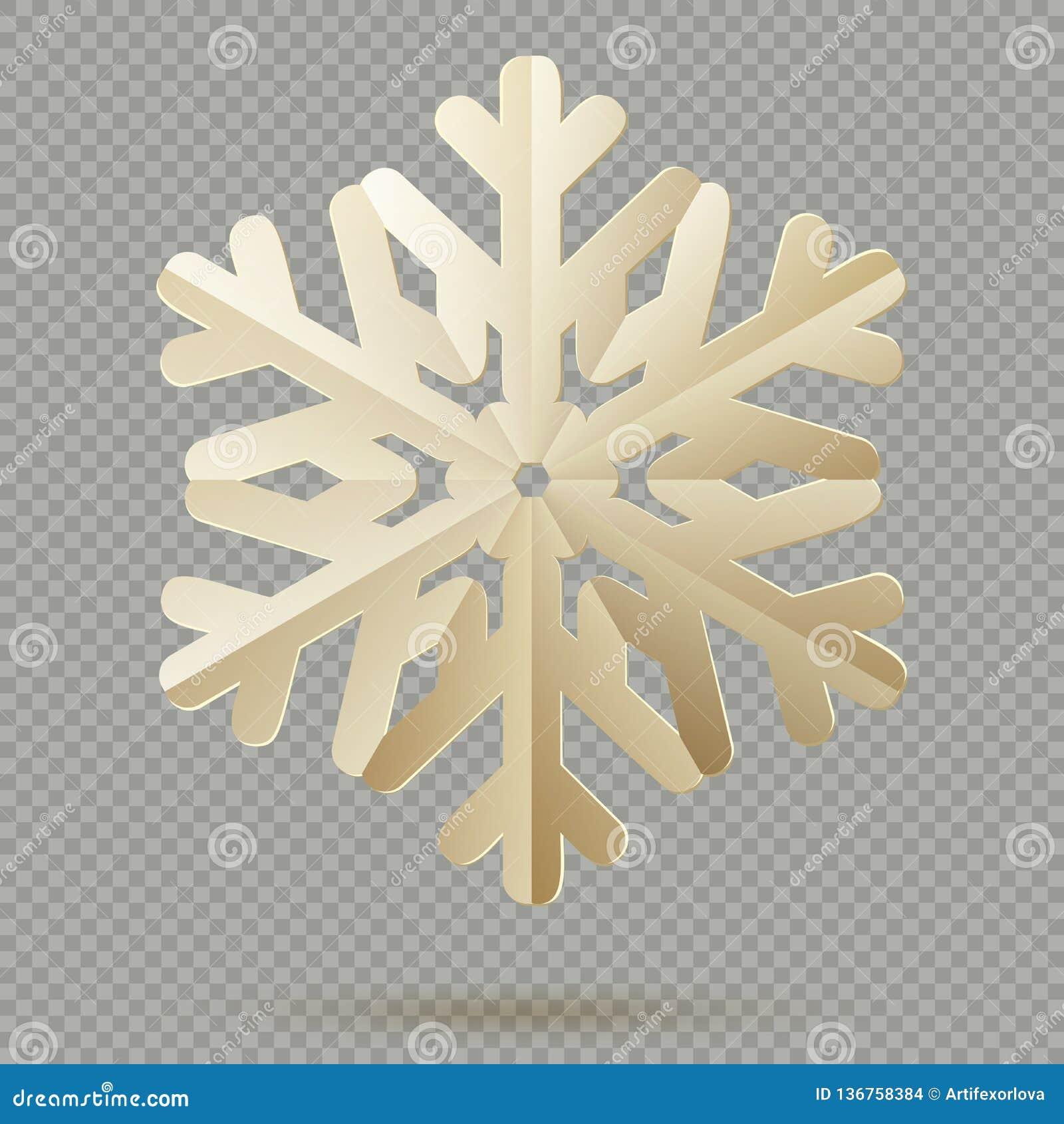 Flocons de neige de papier de décoration de Noël de cru avec l ombre d isolement sur le fond transparent ENV 10