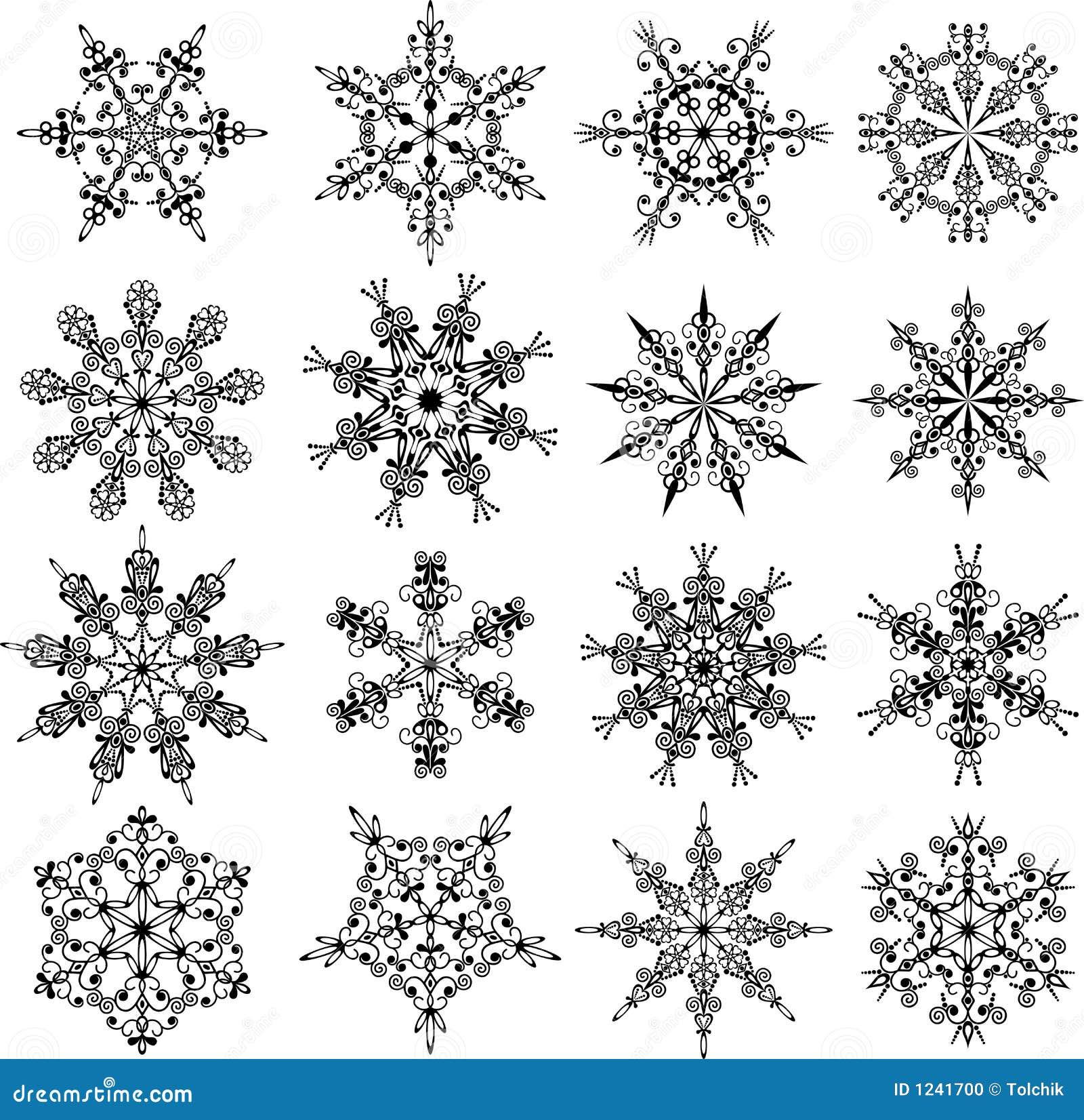Flocons de neige vecteur photo stock image 1241700 - Gabarit flocon de neige a decouper ...