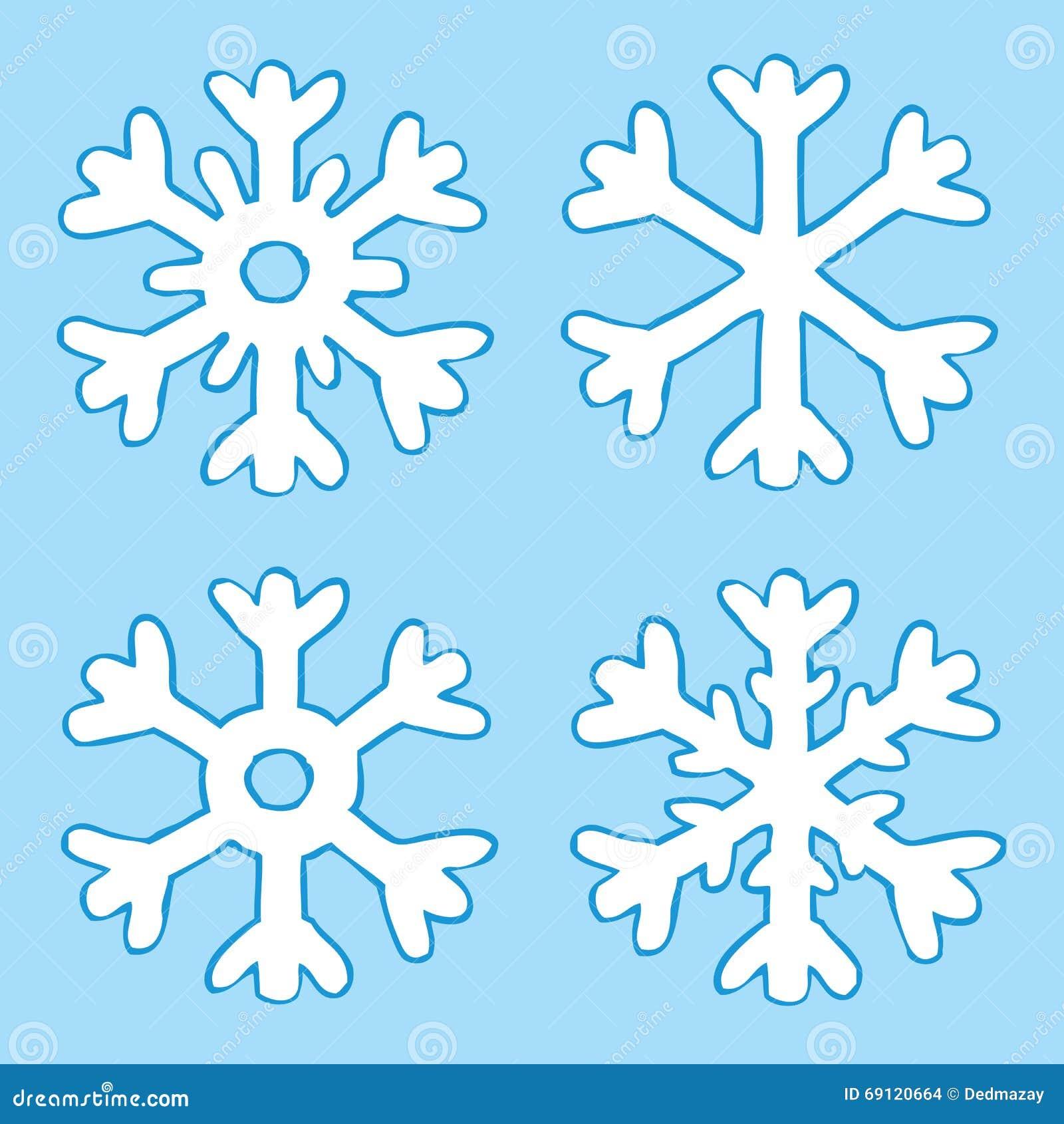 Flocos De Neve Dos Desenhos Animados Quatro Ilustracao Do Vetor