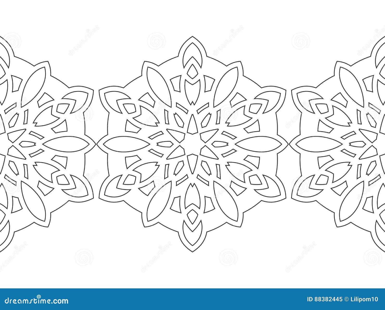 flocos de neve preto e branco para o livro para colorir decorações