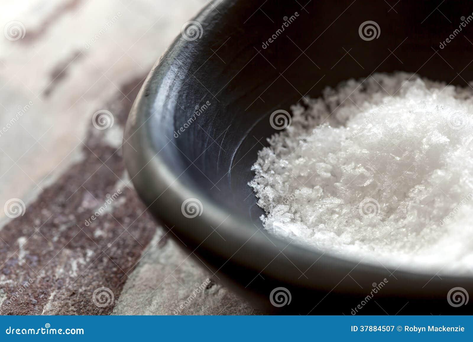 Flocos de sal do mar