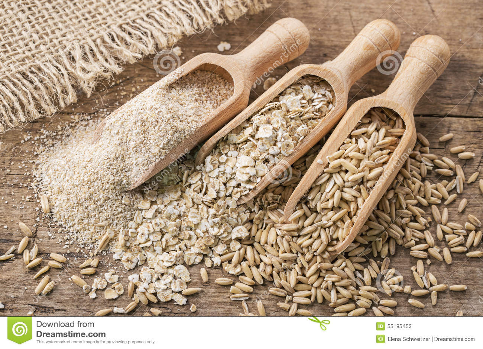 Flocos, sementes e farelo da aveia