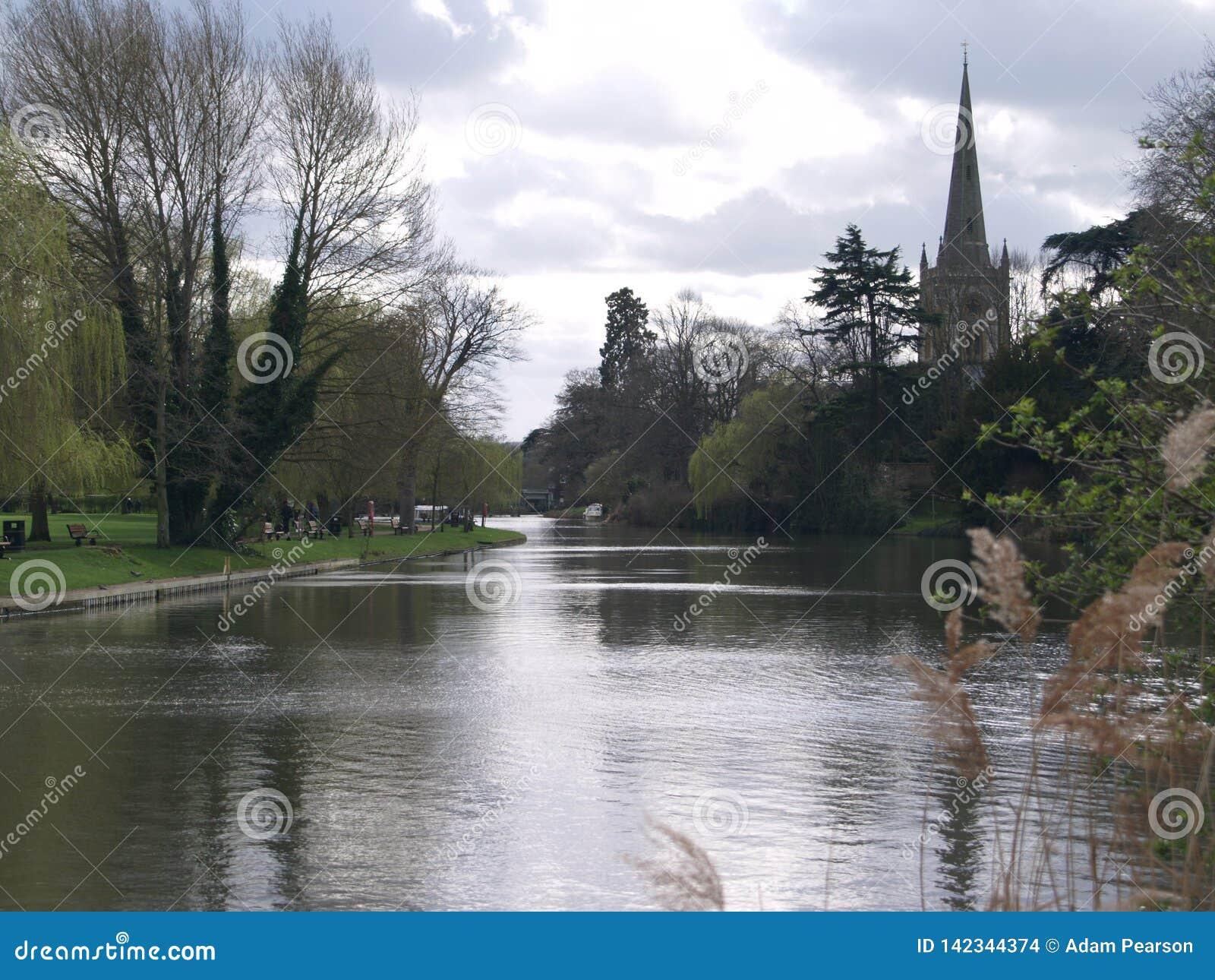 Flod Avon Stratford-på-Avon, England, UK