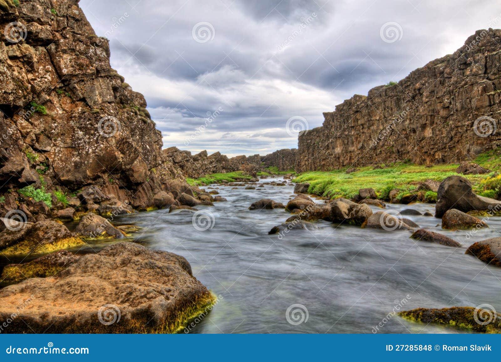 Flod i kanjonen, Thingvellir NP, Island