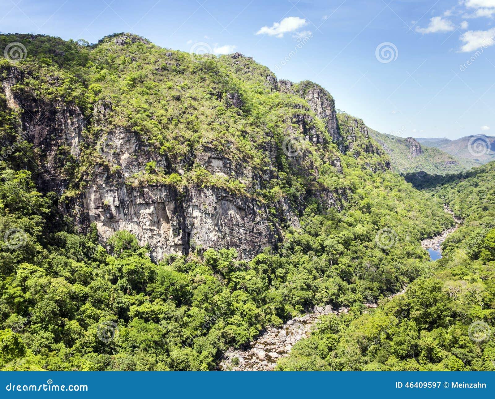 Flod i nationalpark för Chapada DOS Veadeiros