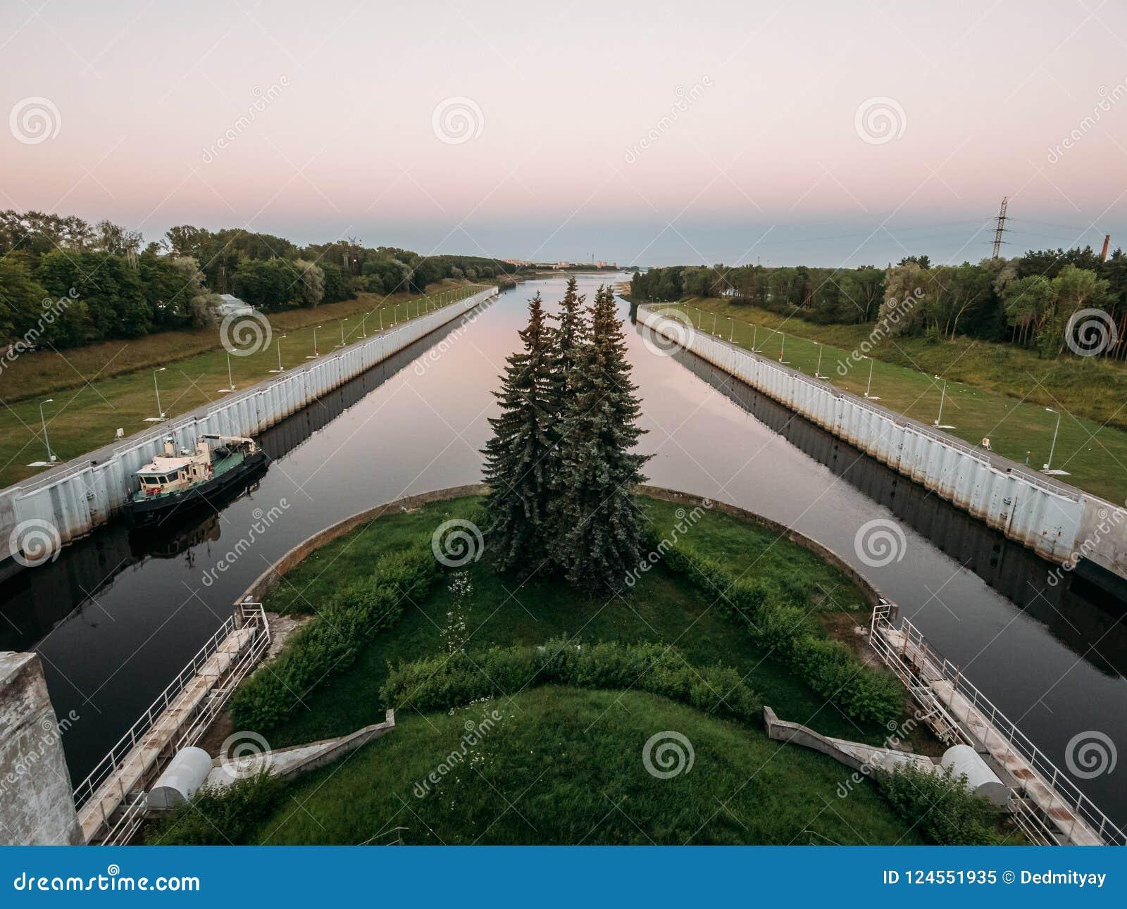 Flodsändningslåsportar system, kanal för fartyg och skepp