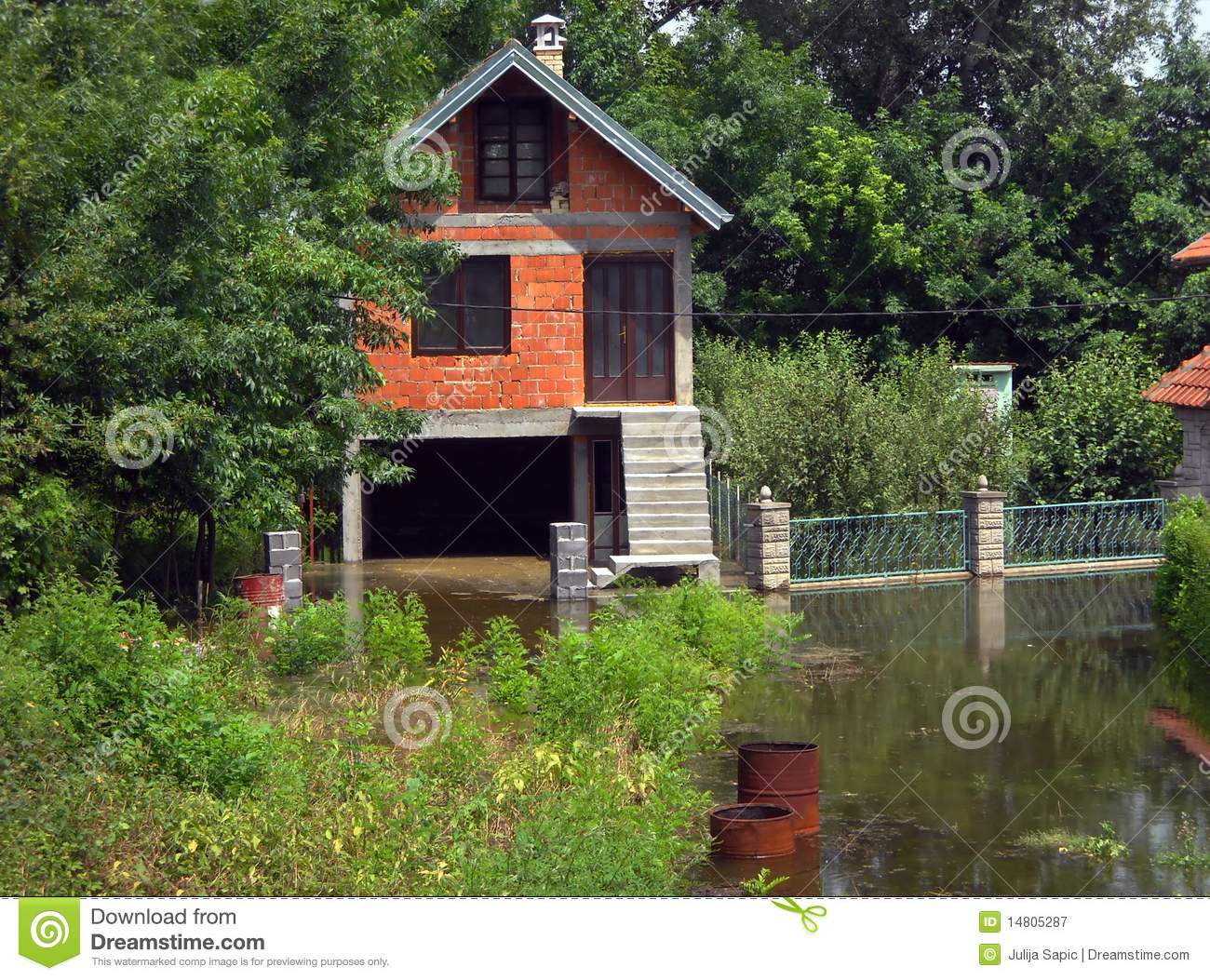 Flood House Surrounded By Water Stock Image Image 14805287