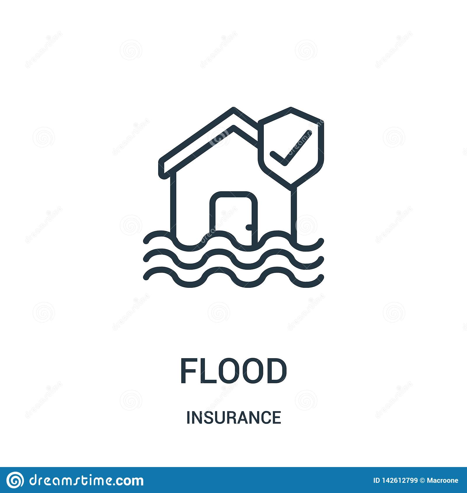 flood icon vector from insurance collection. Thin line flood outline icon vector illustration. Linear symbol