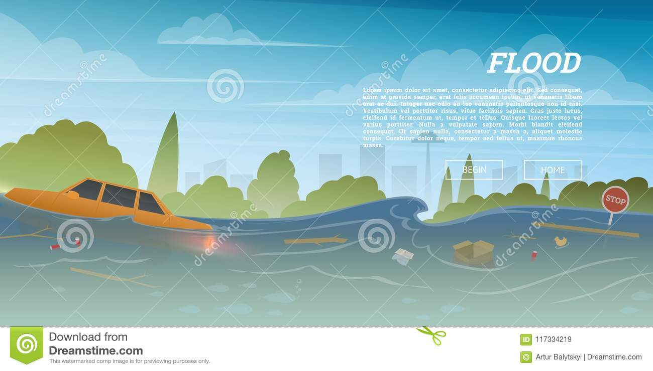Flood or natural disaster in city concept. Floating garbage and car during deluge in high water, overflow and big waves