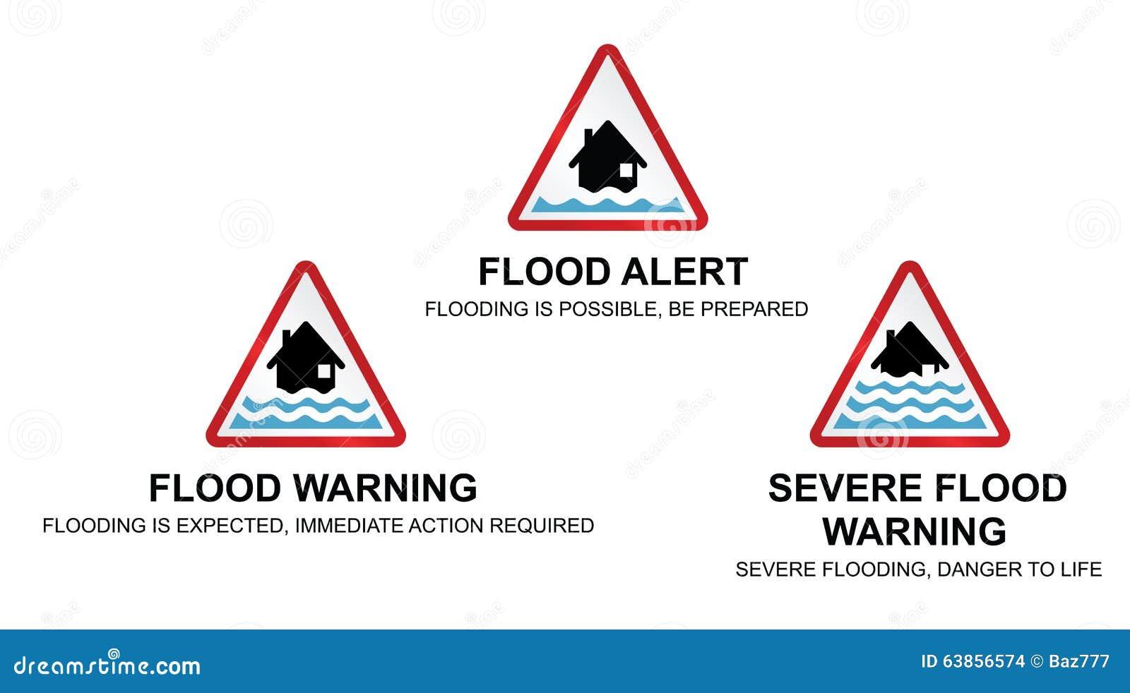 Flood Warning Signs Stock Vector - Image: 63856574